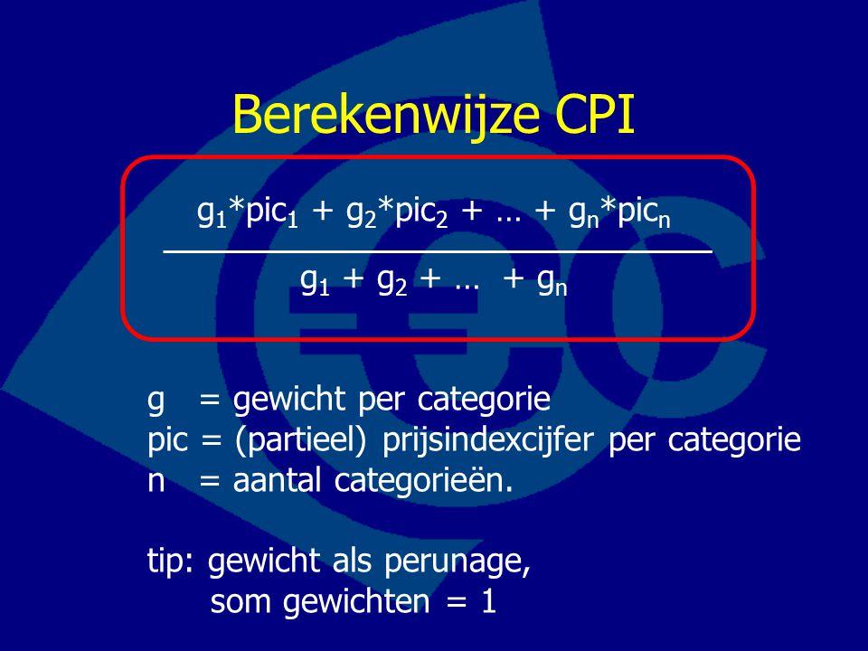 Berekenwijze CPI g 1 *pic 1 + g 2 *pic 2 + … + g n *pic n g 1 + g 2 + … + g n g = gewicht per categorie pic = (partieel) prijsindexcijfer per categorie n = aantal categorieën.