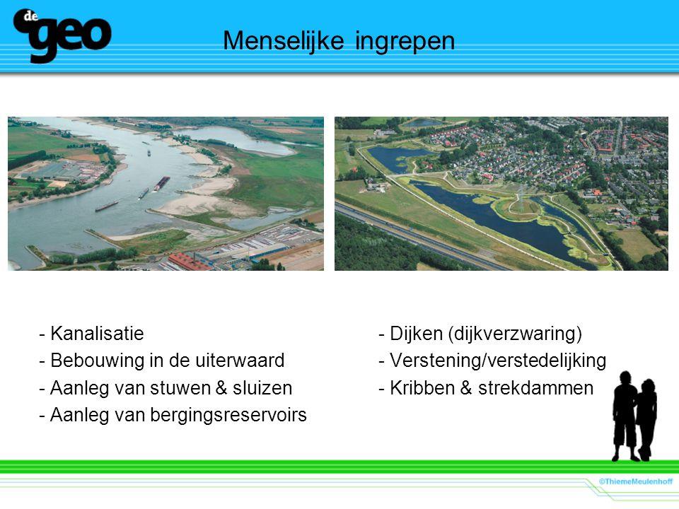 Menselijke ingrepen - Kanalisatie- Dijken (dijkverzwaring) - Bebouwing in de uiterwaard- Verstening/verstedelijking - Aanleg van stuwen & sluizen- Kri