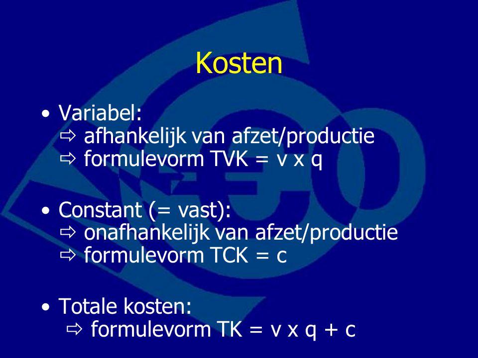 Kosten Variabel:  afhankelijk van afzet/productie  formulevorm TVK = v x q Constant (= vast):  onafhankelijk van afzet/productie  formulevorm TCK