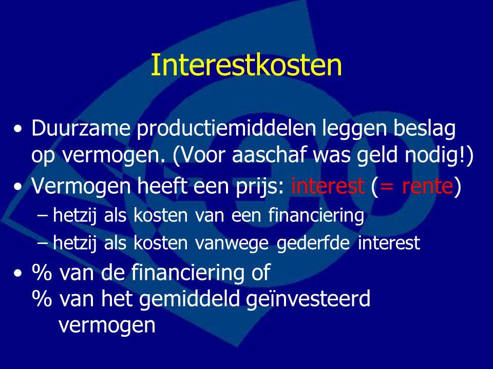 Interestkosten Duurzame productiemiddelen leggen beslag op vermogen. (Voor aaschaf was geld nodig!) Vermogen heeft een prijs: interest (= rente) –hetz