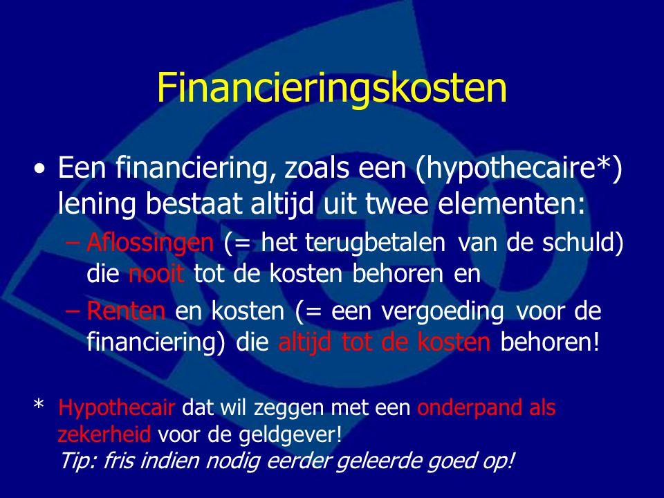 Financieringskosten Een financiering, zoals een (hypothecaire*) lening bestaat altijd uit twee elementen: –Aflossingen (= het terugbetalen van de schu