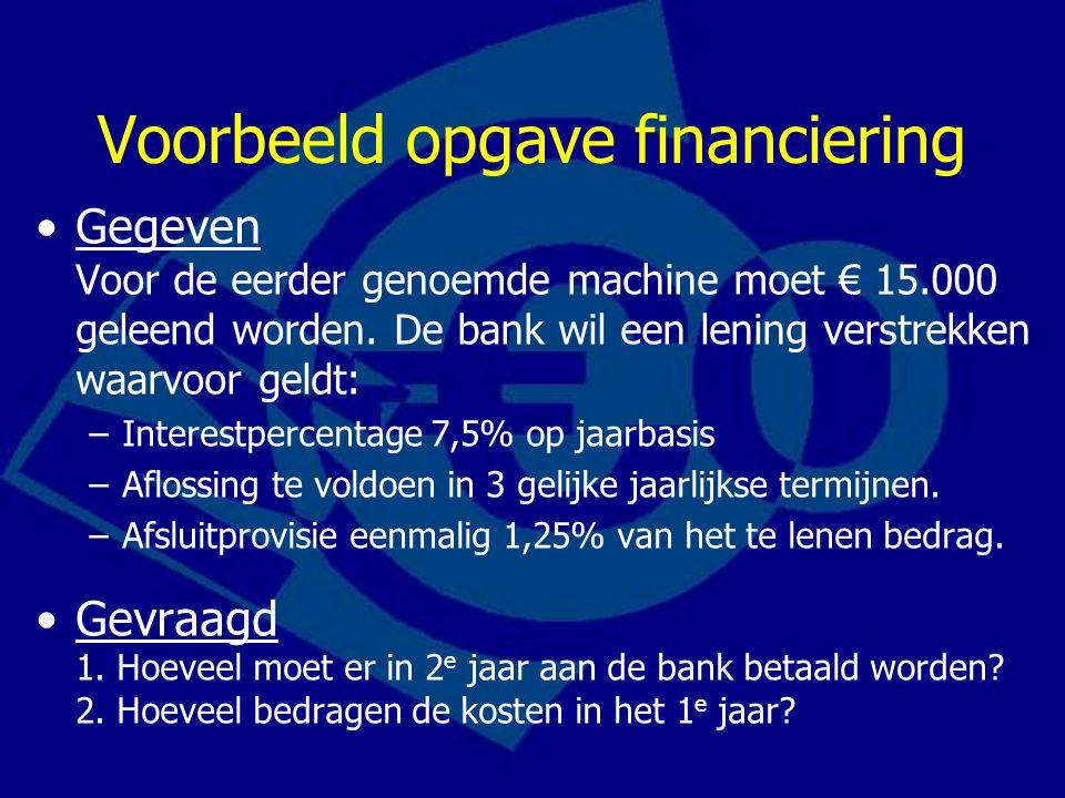 Voorbeeld opgave financiering Gegeven Voor de eerder genoemde machine moet € 15.000 geleend worden. De bank wil een lening verstrekken waarvoor geldt:
