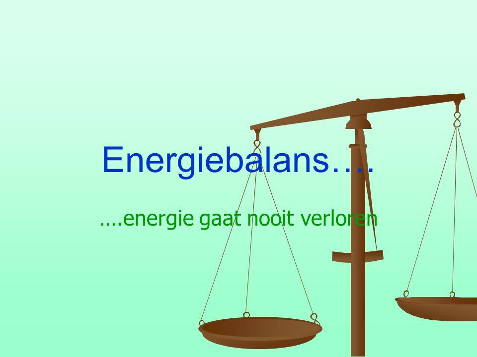 Energiebalans…. ….energie gaat nooit verloren