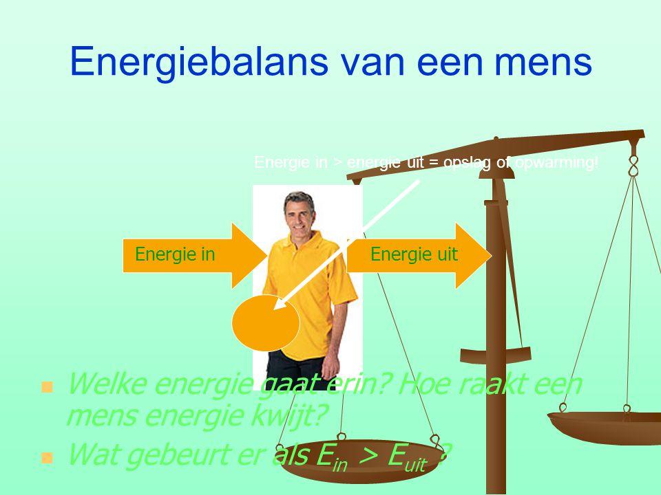 Energiebalans van een mens Energie in Energie uit Welke energie gaat erin? Hoe raakt een mens energie kwijt? Wat gebeurt er als E in > E uit ? Energie