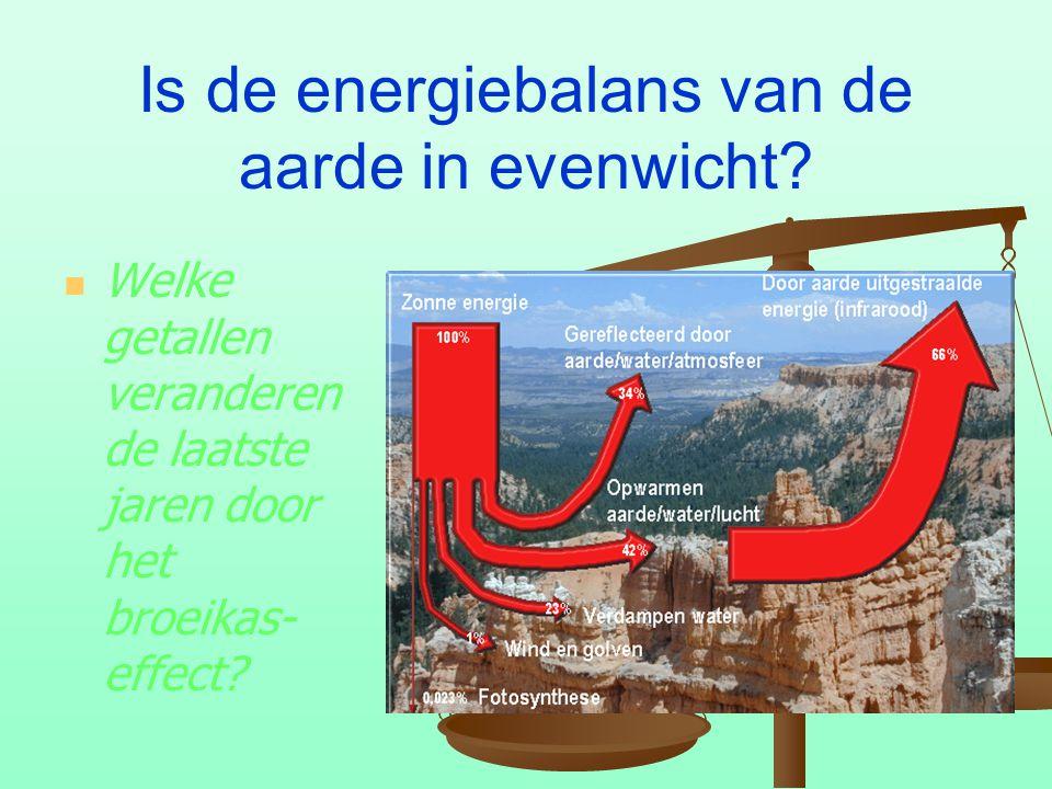Is de energiebalans van de aarde in evenwicht? Welke getallen veranderen de laatste jaren door het broeikas- effect?