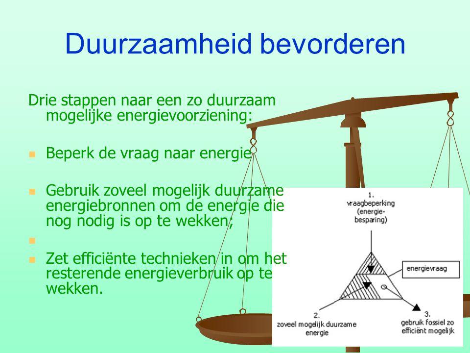 Duurzaamheid bevorderen Drie stappen naar een zo duurzaam mogelijke energievoorziening: Beperk de vraag naar energie Gebruik zoveel mogelijk duurzame