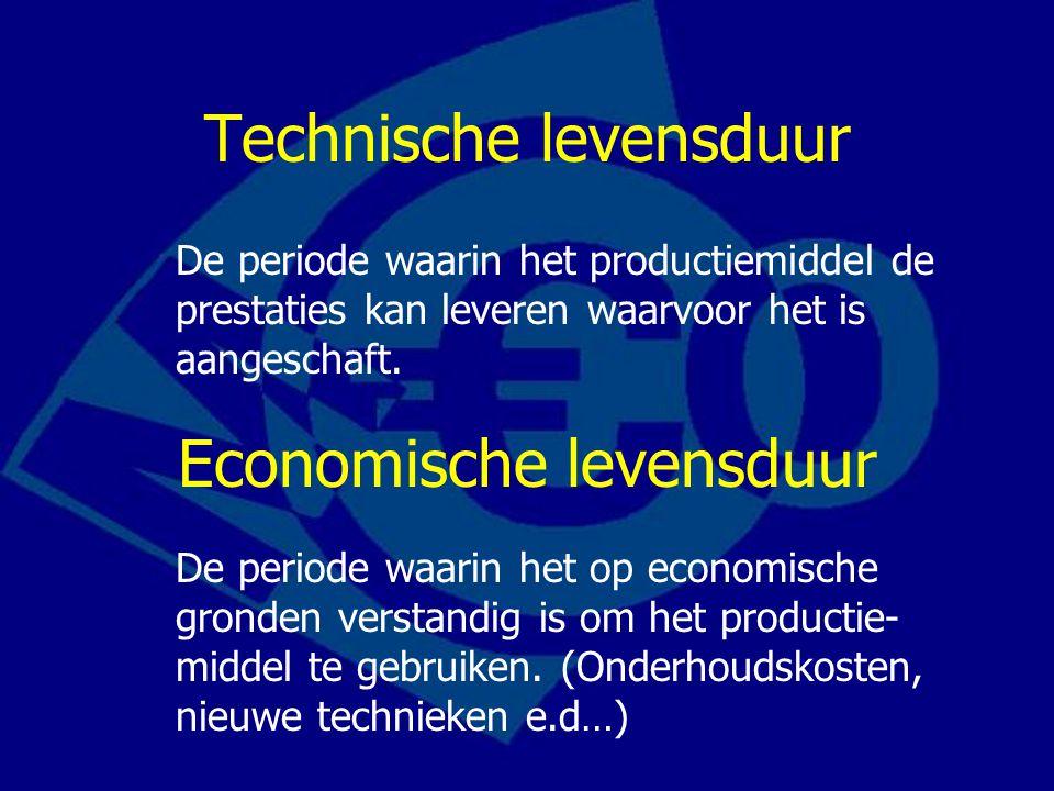 Technische levensduur De periode waarin het productiemiddel de prestaties kan leveren waarvoor het is aangeschaft. Economische levensduur De periode w