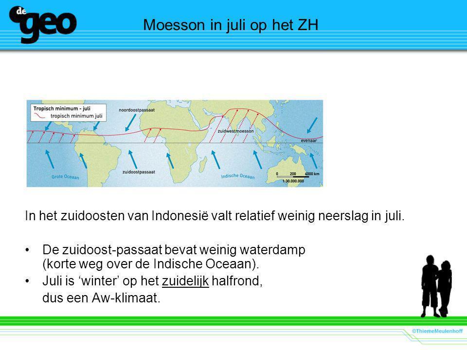 Moesson in juli op het ZH In het zuidoosten van Indonesië valt relatief weinig neerslag in juli.