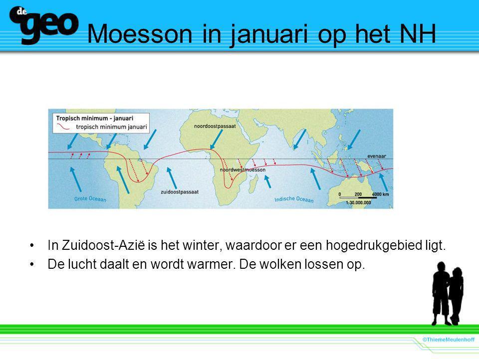 Moesson in januari op het NH In Zuidoost-Azië is het winter, waardoor er een hogedrukgebied ligt.
