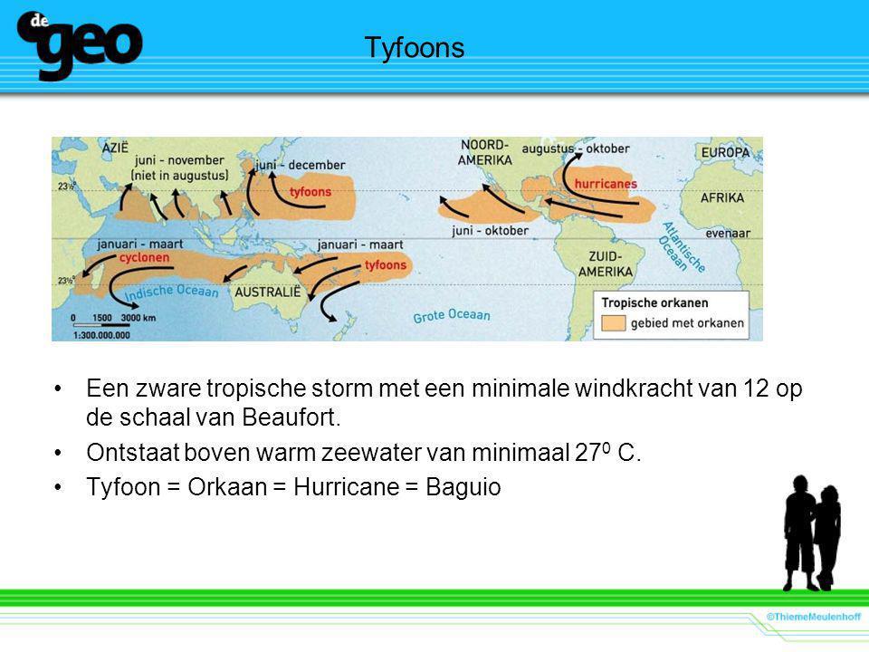 Tyfoons Een zware tropische storm met een minimale windkracht van 12 op de schaal van Beaufort.