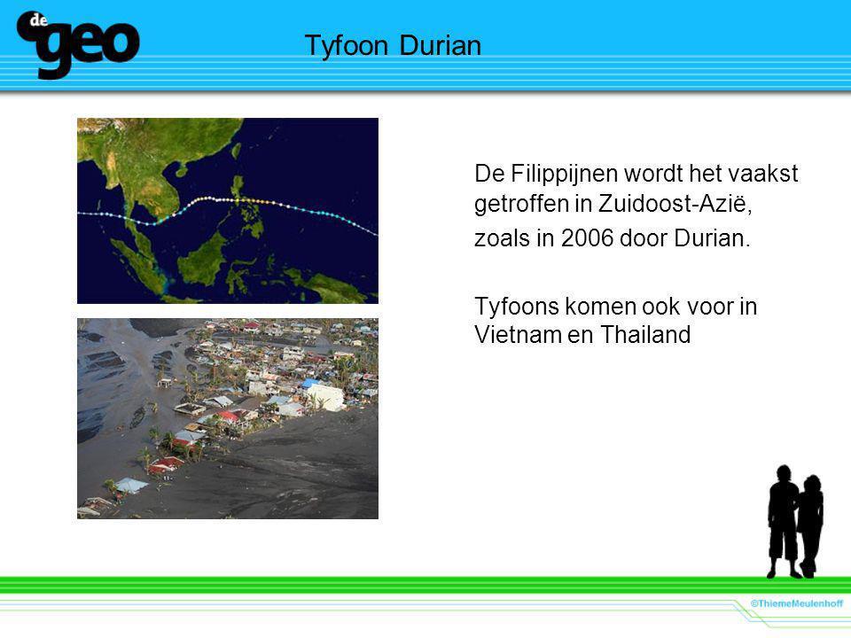 Tyfoon Durian De Filippijnen wordt het vaakst getroffen in Zuidoost-Azië, zoals in 2006 door Durian.