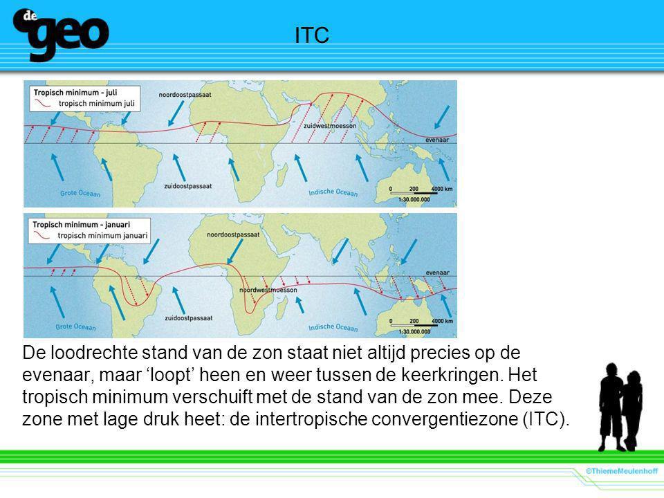 ITC De loodrechte stand van de zon staat niet altijd precies op de evenaar, maar 'loopt' heen en weer tussen de keerkringen.