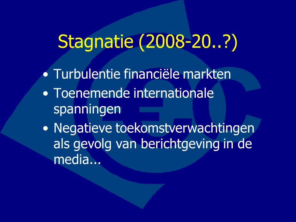 Turbulentie financiële markten Toenemende internationale spanningen Negatieve toekomstverwachtingen als gevolg van berichtgeving in de media... Stagna