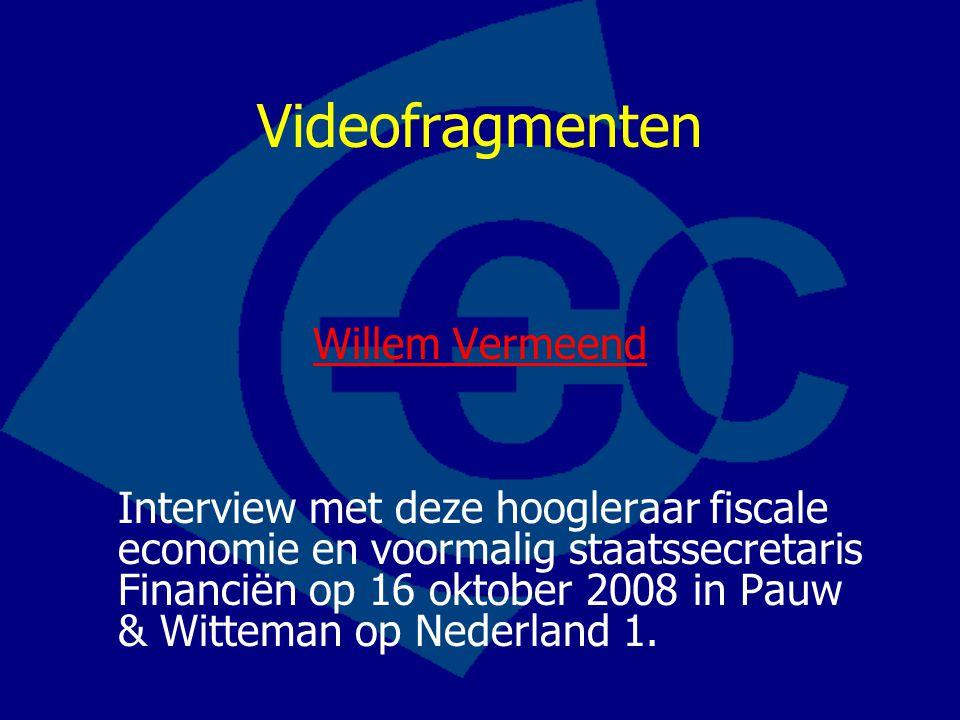 Videofragmenten Willem Vermeend Interview met deze hoogleraar fiscale economie en voormalig staatssecretaris Financiën op 16 oktober 2008 in Pauw & Wi