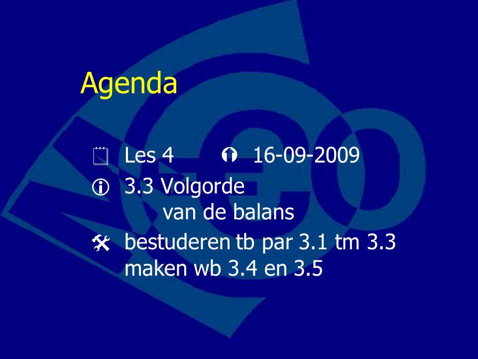 Agenda  Les 4  16-09-2009  3.3 Volgorde van de balans  bestuderen tb par 3.1 tm 3.3 maken wb 3.4 en 3.5