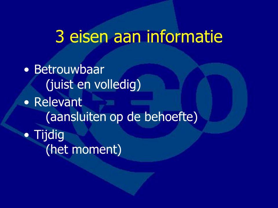 3 eisen aan informatie Betrouwbaar (juist en volledig) Relevant (aansluiten op de behoefte) Tijdig (het moment)