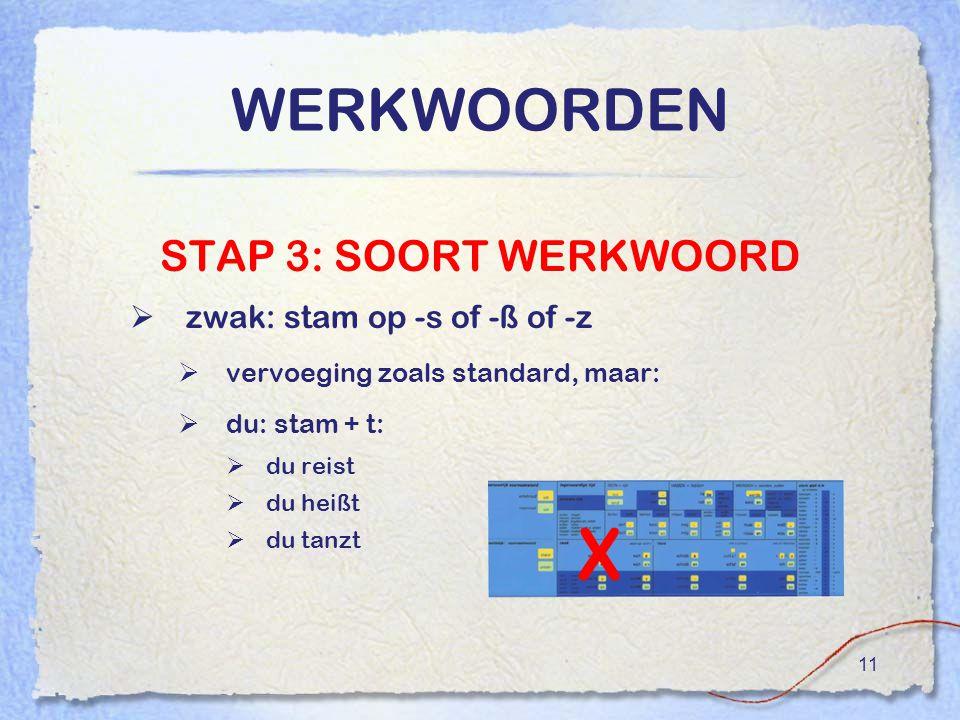 11 WERKWOORDEN STAP 3: SOORT WERKWOORD  zwak: stam op -s of -ß of -z  vervoeging zoals standard, maar:  du: stam + t:  du reist  du heißt  du ta