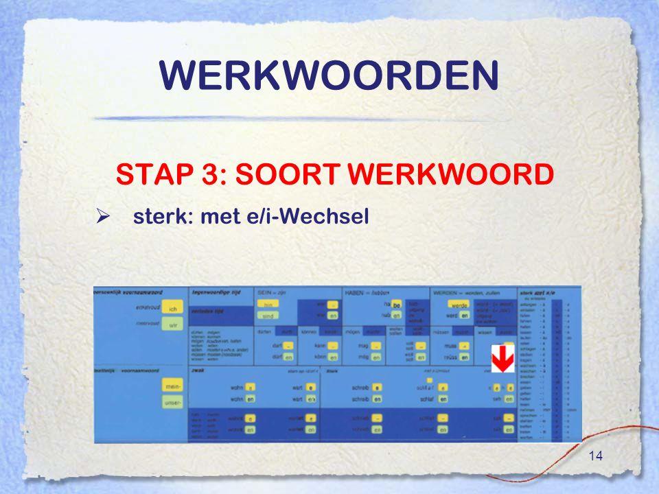 14 WERKWOORDEN STAP 3: SOORT WERKWOORD  sterk: met e/i-Wechsel