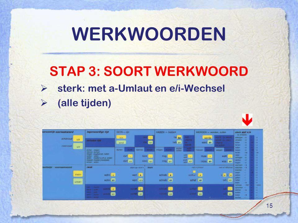 15 WERKWOORDEN STAP 3: SOORT WERKWOORD  sterk: met a-Umlaut en e/i-Wechsel  (alle tijden)