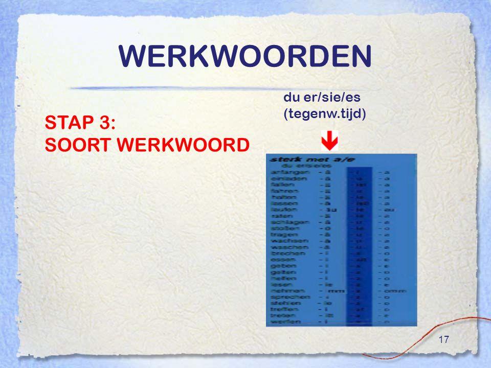 17 WERKWOORDEN STAP 3: SOORT WERKWOORD du er/sie/es (tegenw.tijd)