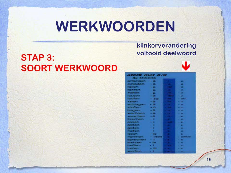 19 WERKWOORDEN STAP 3: SOORT WERKWOORD klinkerverandering voltooid deelwoord
