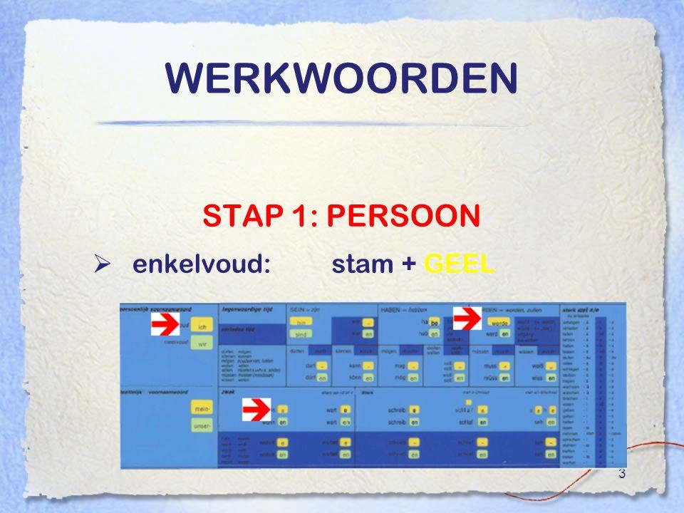 3 WERKWOORDEN STAP 1: PERSOON  enkelvoud:stam + GEEL