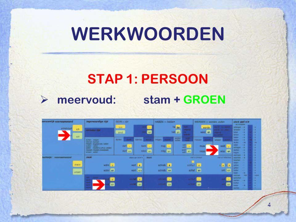 4 WERKWOORDEN STAP 1: PERSOON  meervoud:stam + GROEN