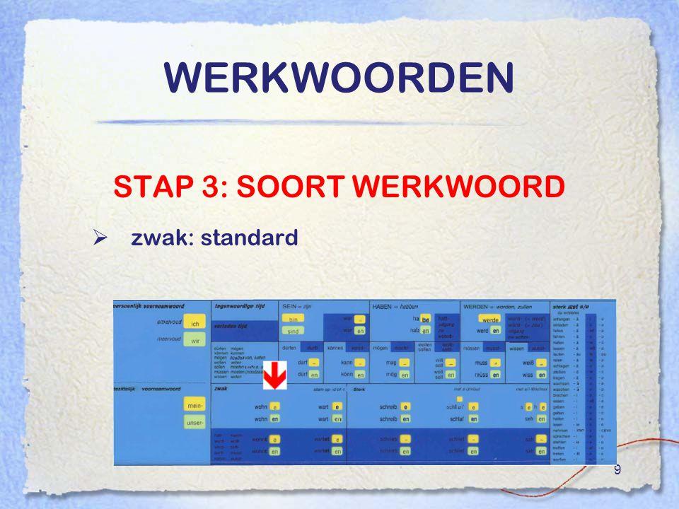 9 WERKWOORDEN STAP 3: SOORT WERKWOORD  zwak: standard