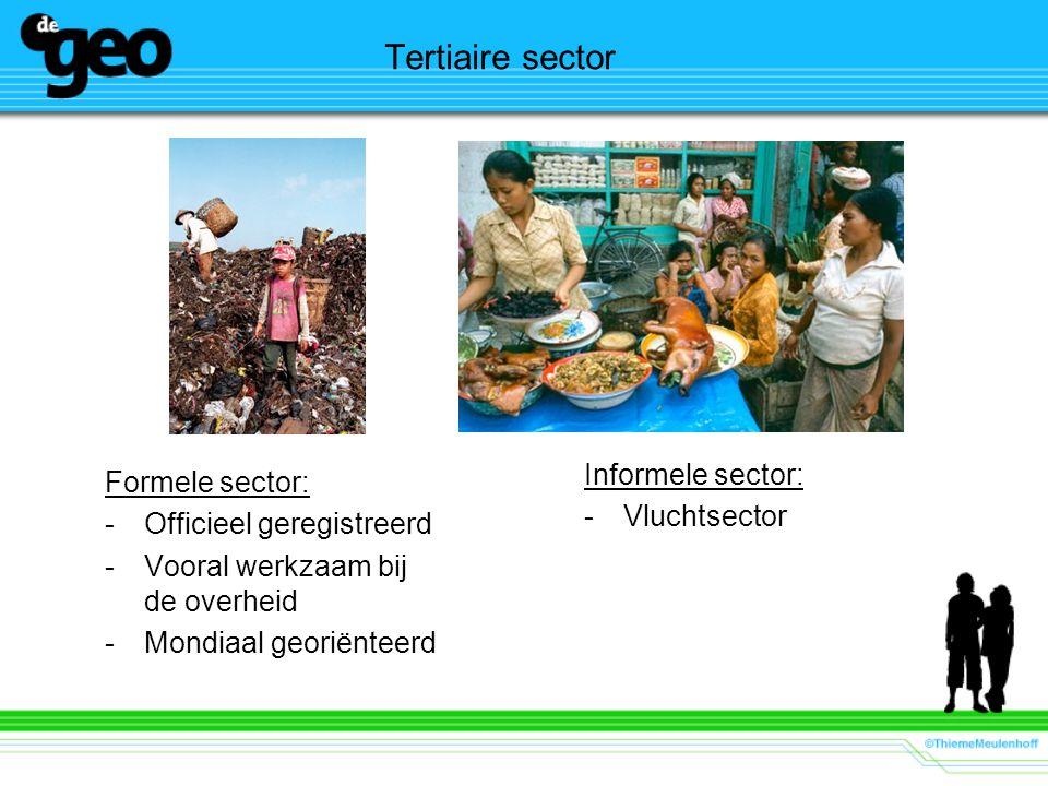 Tertiaire sector Formele sector: -Officieel geregistreerd -Vooral werkzaam bij de overheid -Mondiaal georiënteerd Informele sector: -Vluchtsector