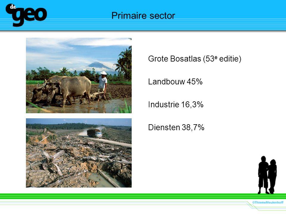Primaire sector Grote Bosatlas (53 e editie) Landbouw 45% Industrie 16,3% Diensten 38,7%