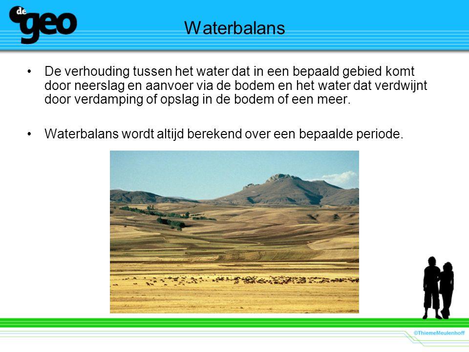 Waterbalans De verhouding tussen het water dat in een bepaald gebied komt door neerslag en aanvoer via de bodem en het water dat verdwijnt door verdam