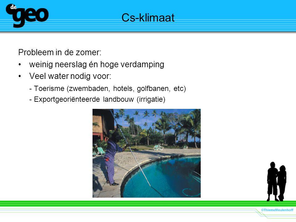 Cs-klimaat Probleem in de zomer: weinig neerslag én hoge verdamping Veel water nodig voor: - Toerisme (zwembaden, hotels, golfbanen, etc) - Exportgeor