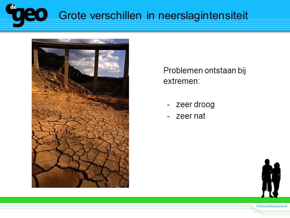 Grote verschillen in neerslagintensiteit Problemen ontstaan bij extremen: -zeer droog -zeer nat