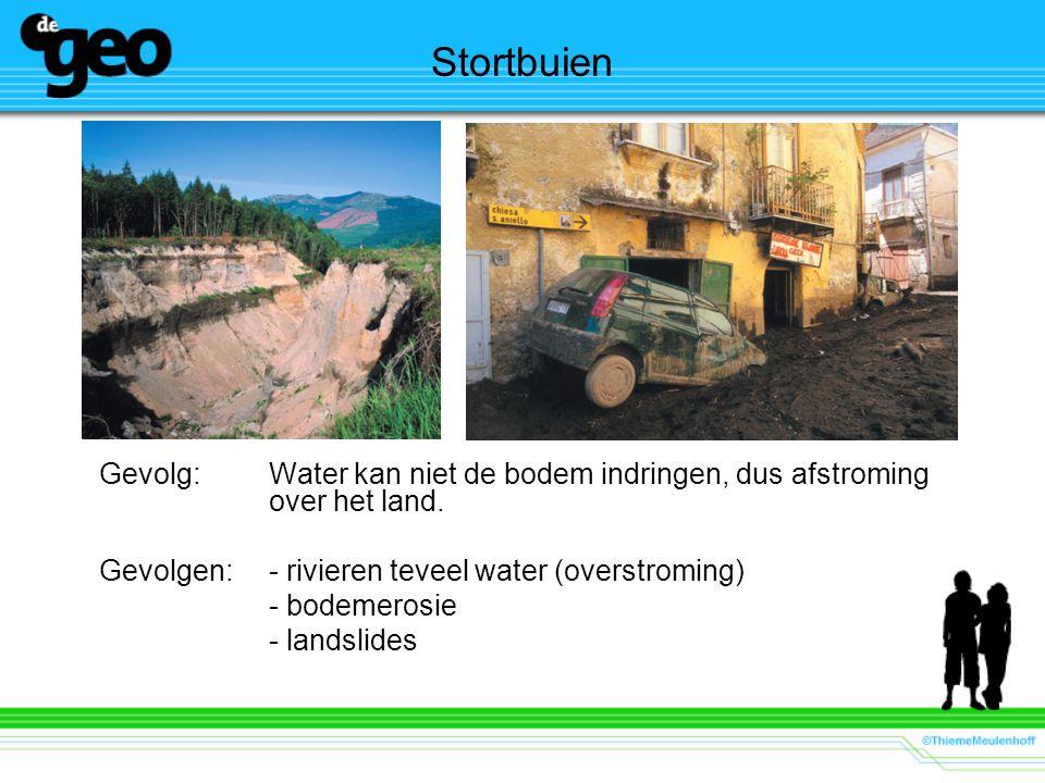 Stortbuien Gevolg: Water kan niet de bodem indringen, dus afstroming over het land. Gevolgen:- rivieren teveel water (overstroming) - bodemerosie - la