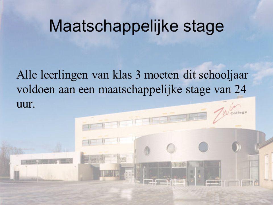 Maatschappelijke stage Alle leerlingen van klas 3 moeten dit schooljaar voldoen aan een maatschappelijke stage van 24 uur.