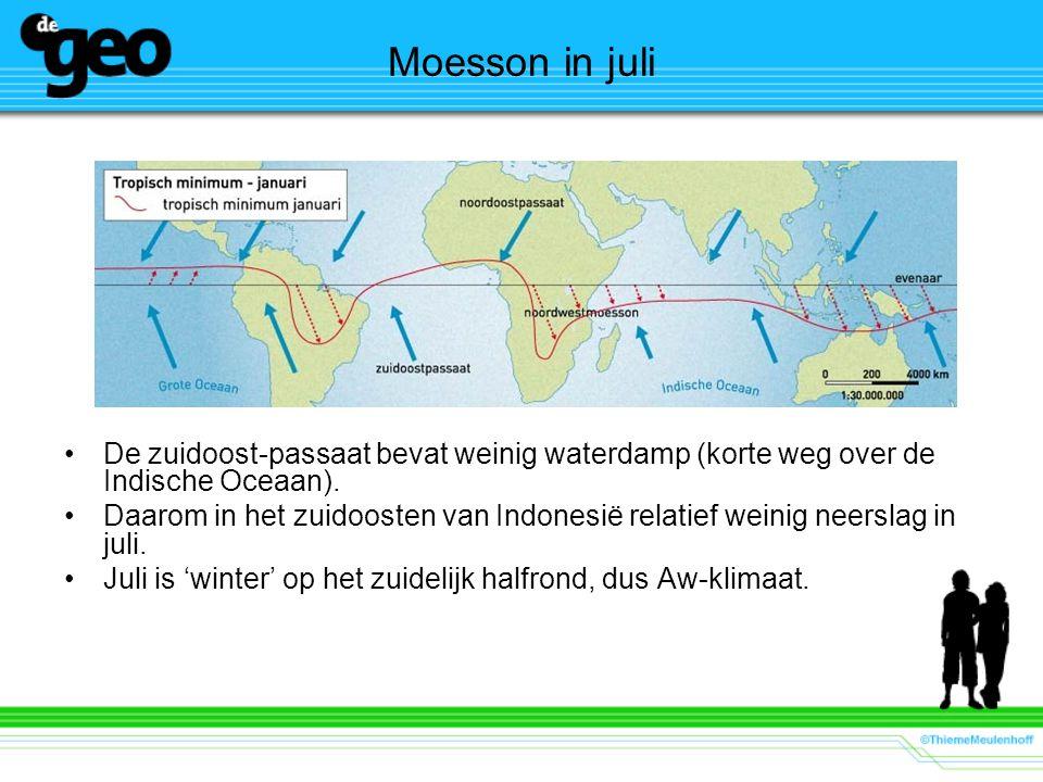 De zuidoost-passaat bevat weinig waterdamp (korte weg over de Indische Oceaan). Daarom in het zuidoosten van Indonesië relatief weinig neerslag in jul