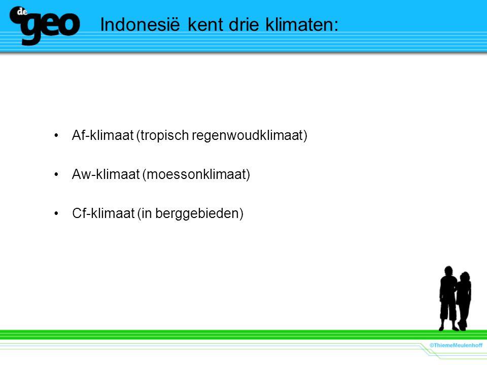 Af-klimaat (tropisch regenwoudklimaat) Aw-klimaat (moessonklimaat) Cf-klimaat (in berggebieden) Indonesië kent drie klimaten: