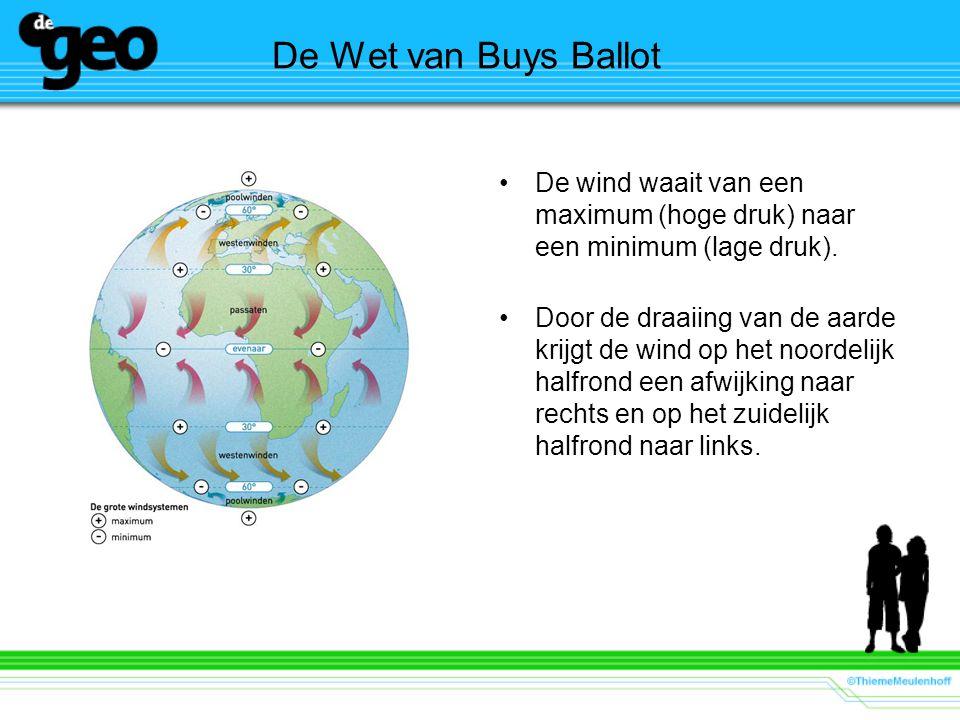 De Wet van Buys Ballot De wind waait van een maximum (hoge druk) naar een minimum (lage druk). Door de draaiing van de aarde krijgt de wind op het noo