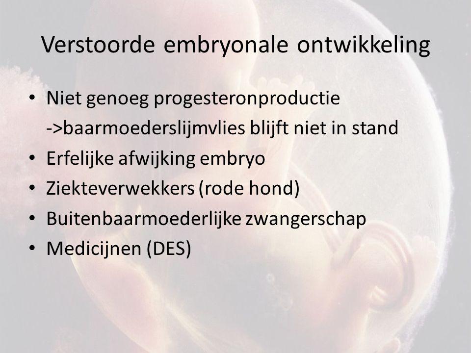 Verstoorde embryonale ontwikkeling Niet genoeg progesteronproductie ->baarmoederslijmvlies blijft niet in stand Erfelijke afwijking embryo Ziekteverwekkers (rode hond) Buitenbaarmoederlijke zwangerschap Medicijnen (DES)