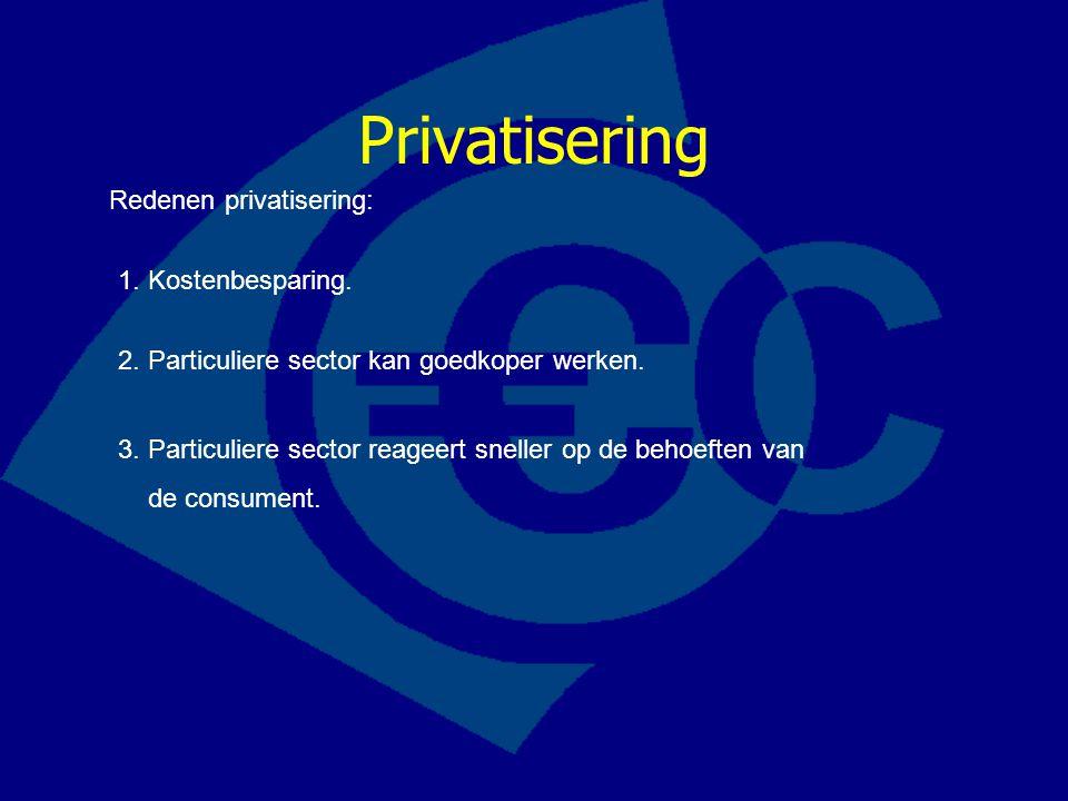 Privatisering Redenen privatisering: 1. Kostenbesparing. 2. Particuliere sector kan goedkoper werken. 3. Particuliere sector reageert sneller op de be