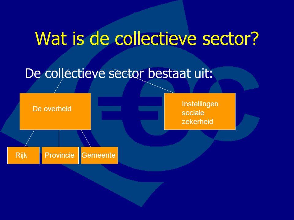 Wat is de collectieve sector? De collectieve sector bestaat uit: De overheid Instellingen sociale zekerheid RijkProvincieGemeente