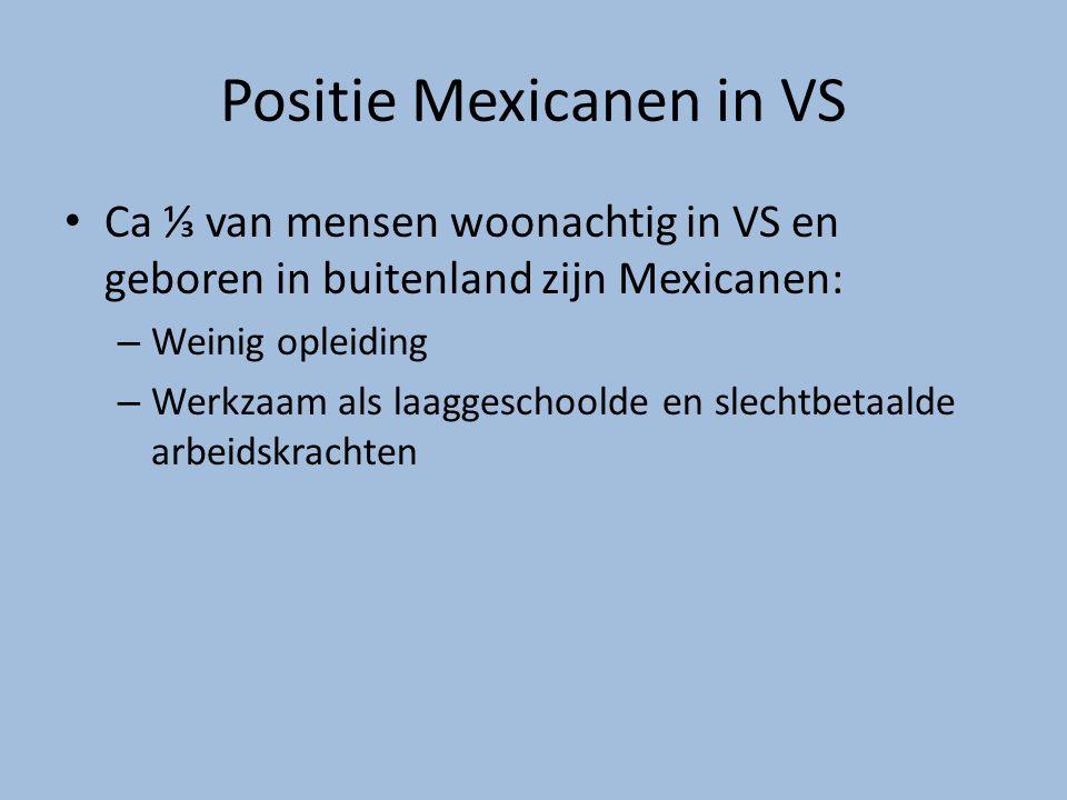 Positie Mexicanen in VS Ca ⅓ van mensen woonachtig in VS en geboren in buitenland zijn Mexicanen: – Weinig opleiding – Werkzaam als laaggeschoolde en