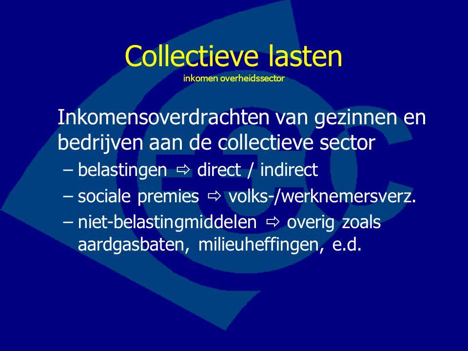 Collectieve lasten inkomen overheidssector Inkomensoverdrachten van gezinnen en bedrijven aan de collectieve sector –belastingen  direct / indirect –