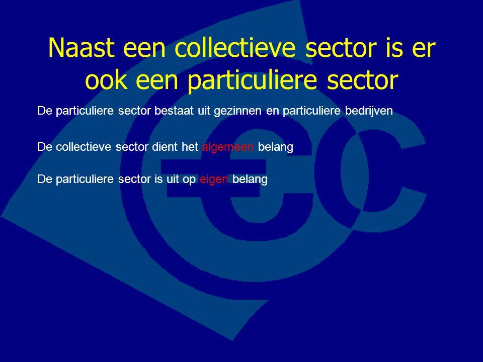 Naast een collectieve sector is er ook een particuliere sector De particuliere sector bestaat uit gezinnen en particuliere bedrijven De collectieve se