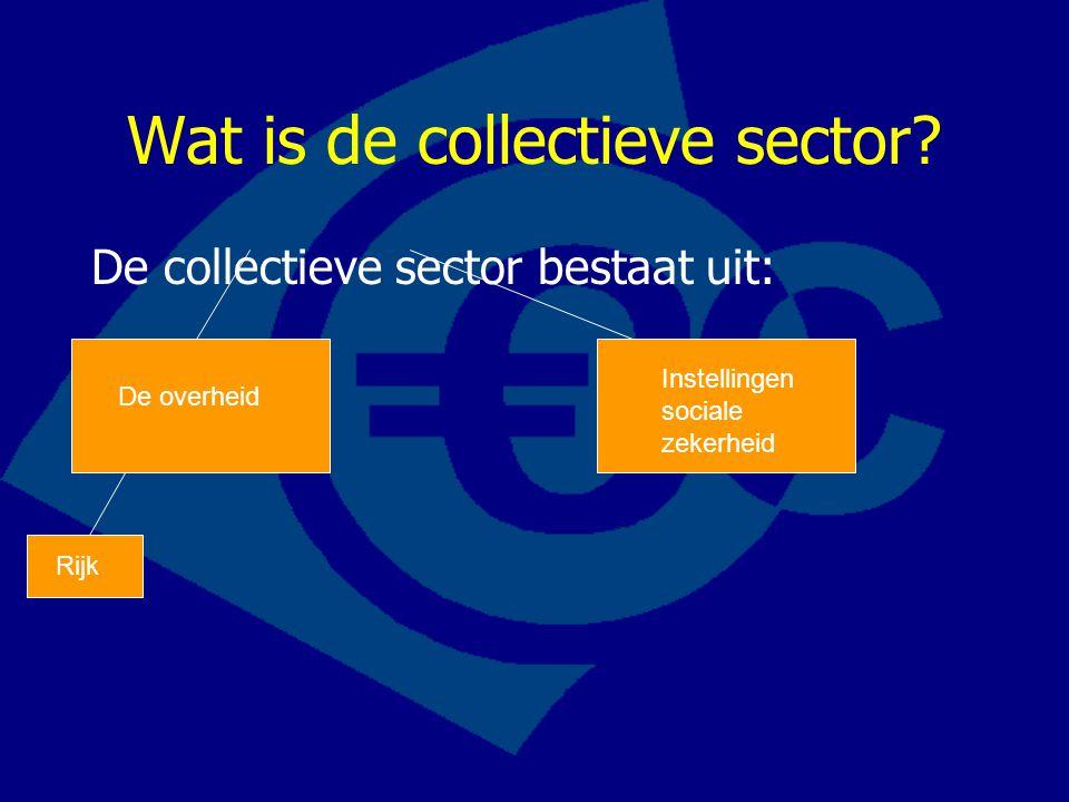 Wat is de collectieve sector? De collectieve sector bestaat uit: De overheid Instellingen sociale zekerheid Rijk
