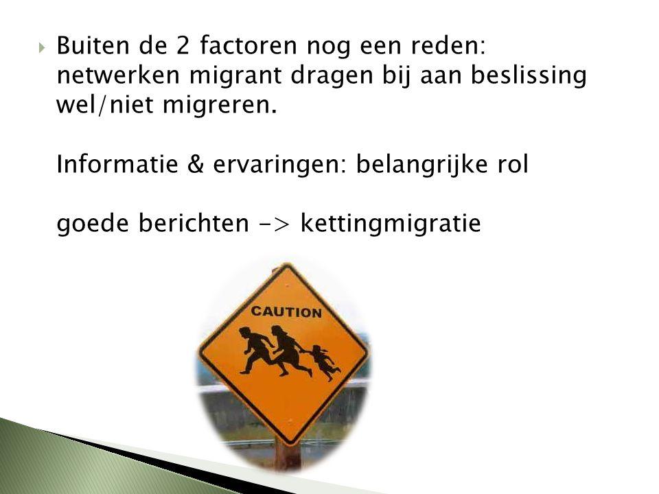  Buiten de 2 factoren nog een reden: netwerken migrant dragen bij aan beslissing wel/niet migreren. Informatie & ervaringen: belangrijke rol goede be