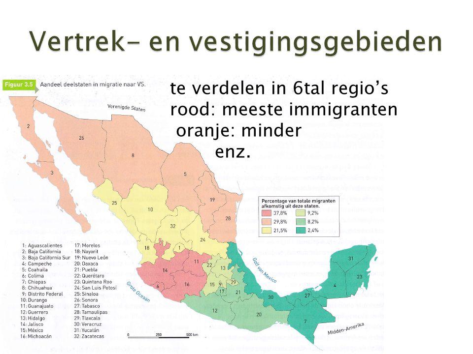  te verdelen in 6tal regio's rood: meeste immigranten oranje: minder enz.