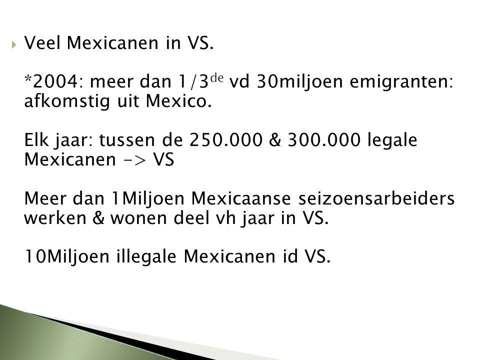  Veel Mexicanen in VS. *2004: meer dan 1/3 de vd 30miljoen emigranten: afkomstig uit Mexico. Elk jaar: tussen de 250.000 & 300.000 legale Mexicanen -