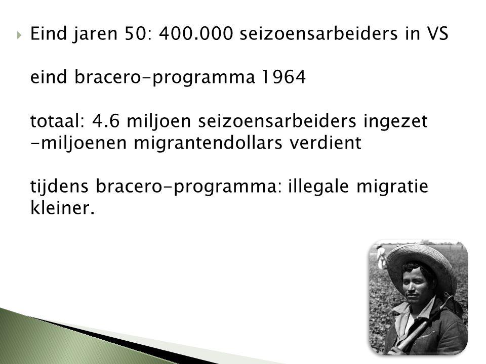  Eind jaren 50: 400.000 seizoensarbeiders in VS eind bracero-programma 1964 totaal: 4.6 miljoen seizoensarbeiders ingezet -miljoenen migrantendollars