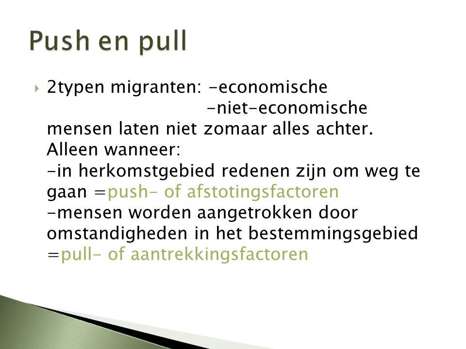  2typen migranten: -economische -niet-economische mensen laten niet zomaar alles achter. Alleen wanneer: -in herkomstgebied redenen zijn om weg te ga